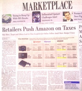 WSJ: Retailers Push Amazon on Taxes