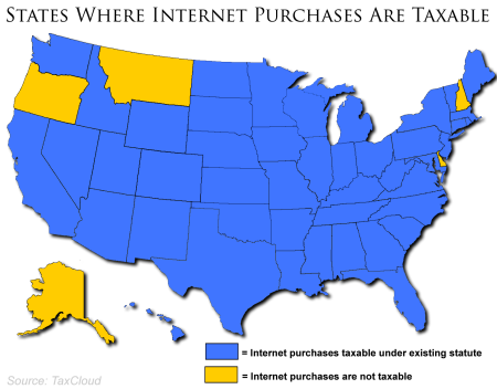 States where internet purchases are taxable