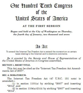 Internet Tax Freedom Act Amendments Act of 2007