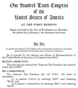 Internet Tax Freedom Act Amendments Act of 2007